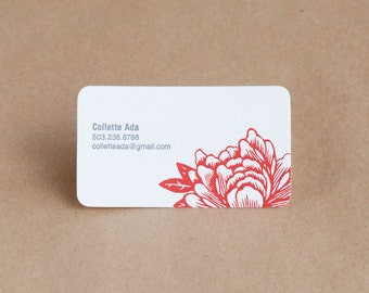 Letterpress Business Card Set : Blossoming Flower Personalized Calling Cards - text & ink color choice (pink, blue, yellow, green, orange)