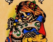 Dia de los Muertos Art SEAMSTRESS Sewing Print 5 x 7, 8 x 10 or 11 x 14