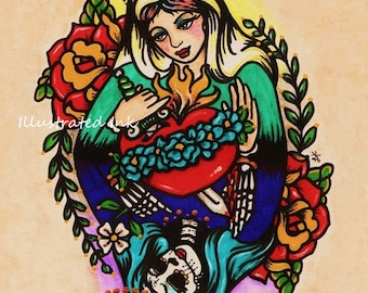 Day of the Dead VIRGIN MARY Old School Tattoo Art Print 5 x 7, 8 x 10 or 11 x 14