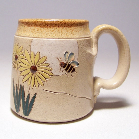 Bee and Flower Pottery Coffee  Mug Limited Series 194 (microwave safe) 12oz