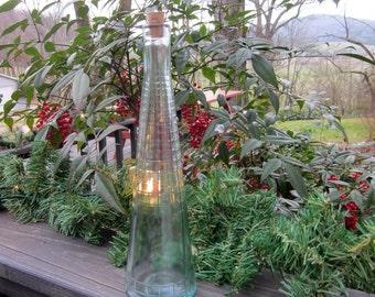 Vintage Green Glass Bottle/ Vase