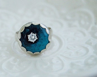 READY to SHIP Black and Blue Enamel Ring with CZ