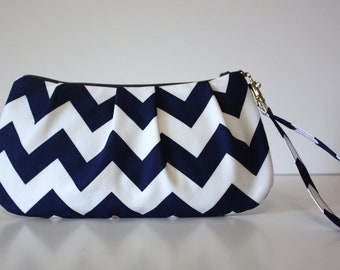 Navy Blue Chevron Wristlet
