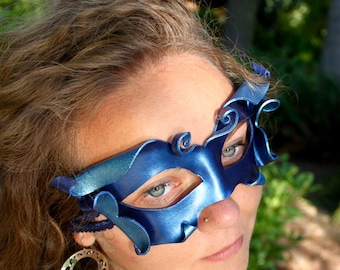 Sprite Or Fairy Mask In Cobalt and Aqua Blue - Sculpted Leather Fantasy Costume - Handmade Leather Mask - READY TO SHIP