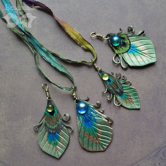 Leather Peacock Feather Pendant With Hand Dyed Ribbon