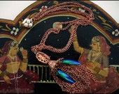 Salomé - Vintage Bohemian Copper Necklace with iridescent Beetle Wings & Pearled Clasp