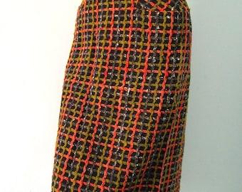 Vintage Plaid Wool Tweed Pencil Skirt  xs s