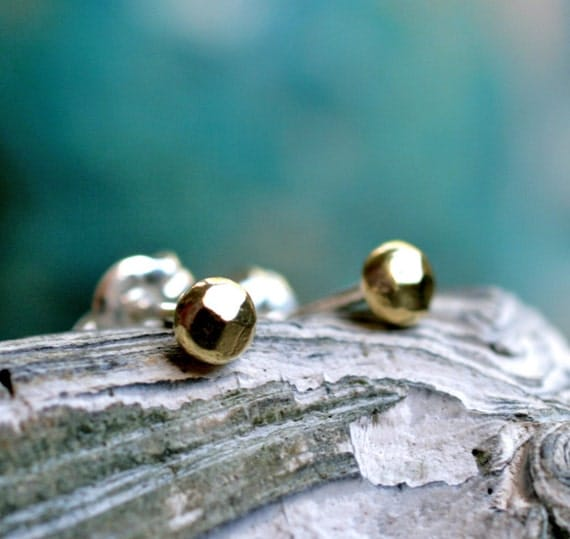 tiny gold stud earrings posts faceted studs modern minimalist small brushed brass organic simple everyday SHIMMER STUDS