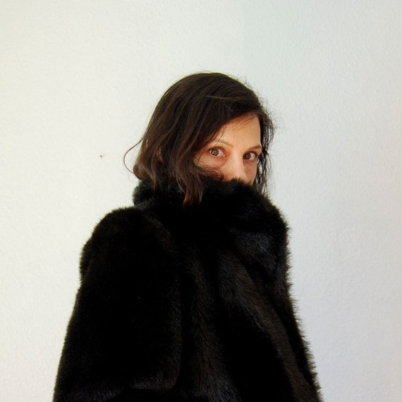vintage JORDACHE vegan fur / 1980s FAUX black sable fur coat