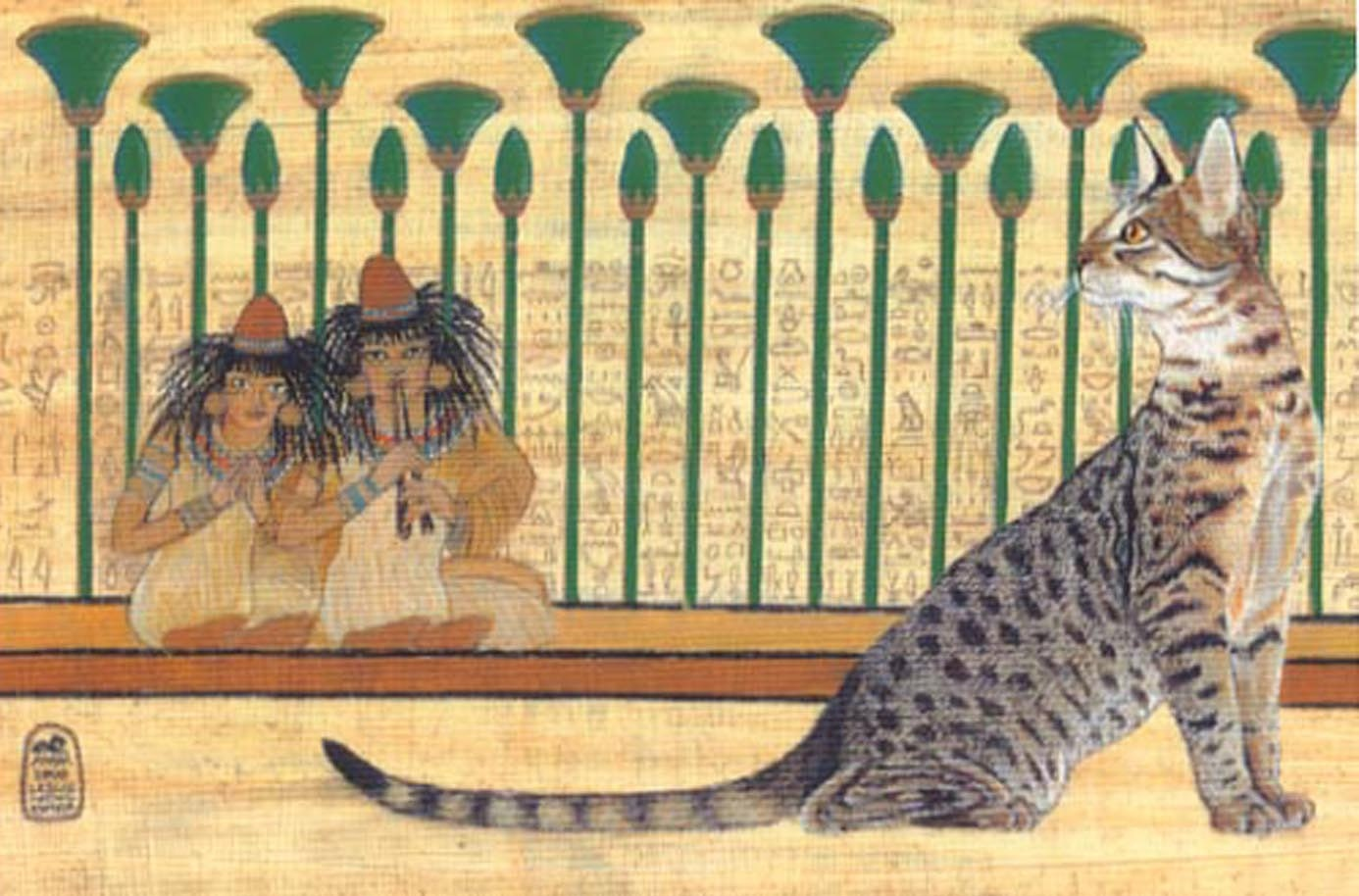 Egyptian mau cat art open edition print for Egyptian fresco mural painting
