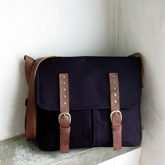 Black Canvas Messenger Bag Brown Leather Strap Large