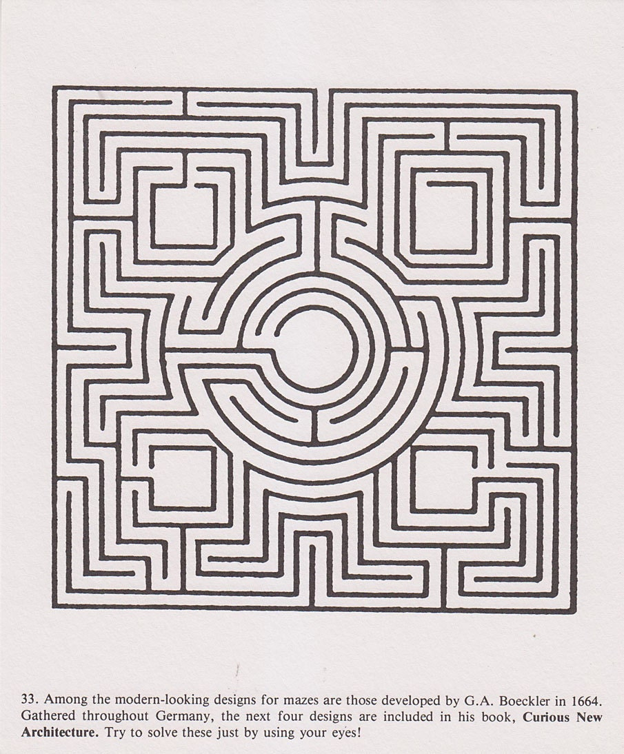 Vintage Maze Illustrated Print Maze Design By By