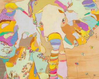 Elephant Funk Babe Canvas Print by Jennifer Mercede 24X24