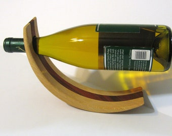 Amazing Balancing Wine Bottle Holder Made Of Oak And Padauk Woods