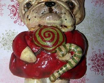 Folk Art Frenchie French Bulldog Ornament Doll Whimsical Vintage Style 3d Art