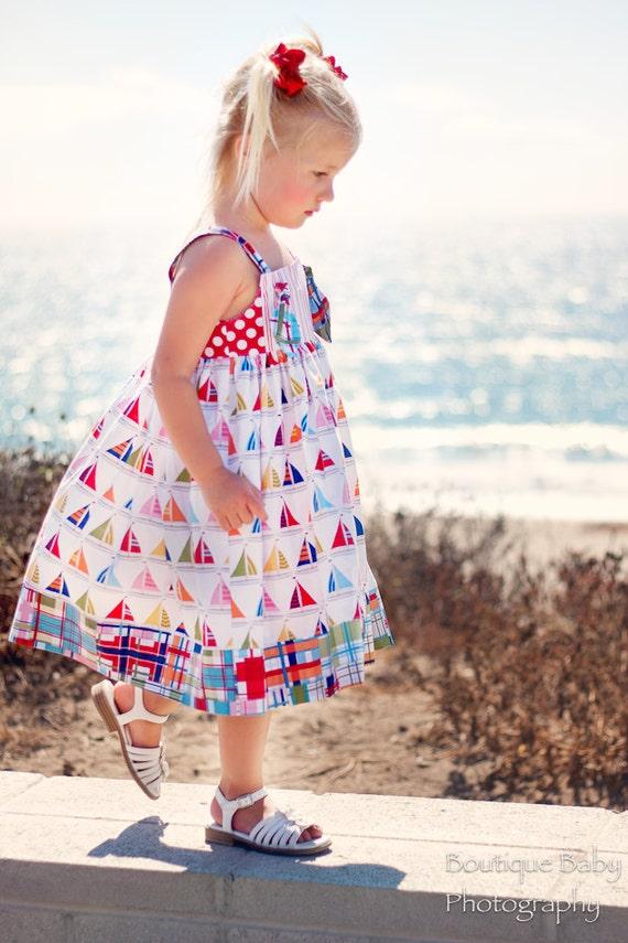 Petal Knot Dress, Cape Cod, Sizes  1, 2, 3, 4, 5, 6.