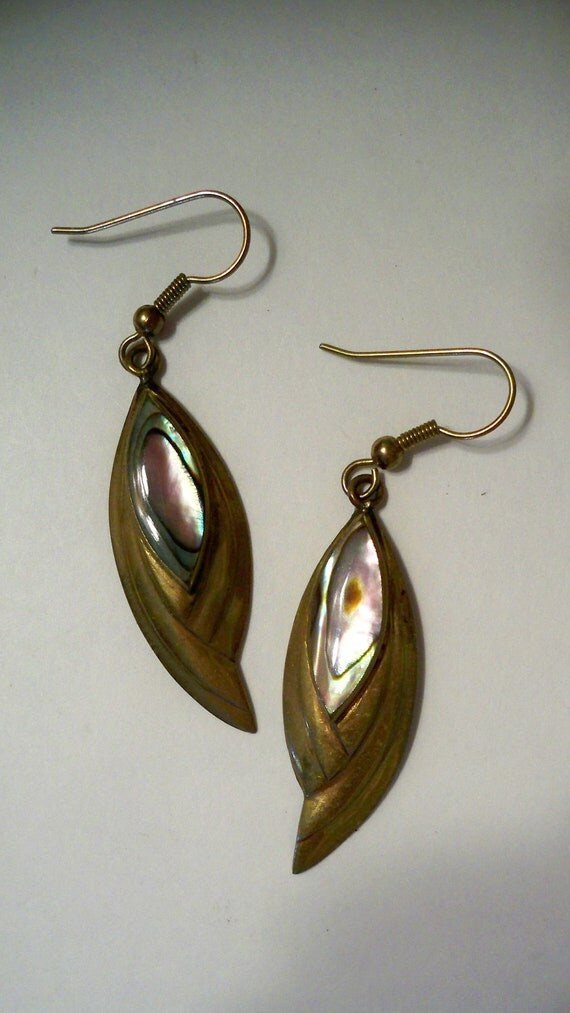 Reserved for Robin Abalone & Gold Earrings in Vintage Art Deco Style