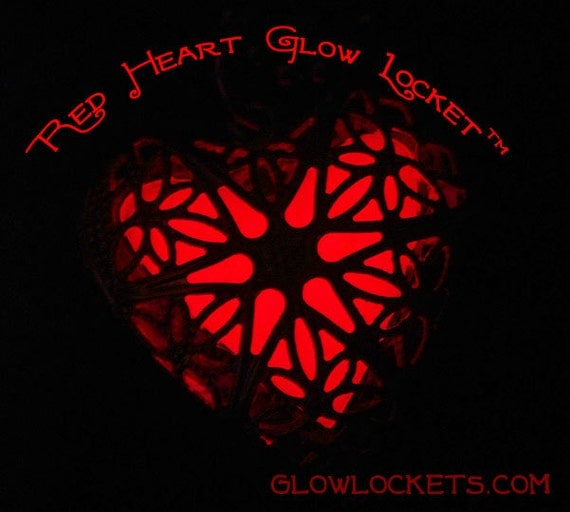 Red Heart Glow Locket Silver