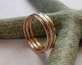 Gold Stacking Ring Set Stunning 18K Yellow 14K Rose and Sterling Silver Hammered Skinny Rings