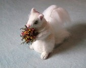 Wedding Cake Topper / Rare White Squirrel / Needle Felted Animal / Sculpture by Fiber Artist GERRY / Large