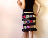 Women's Skirt - Black with Multicolor Squares
