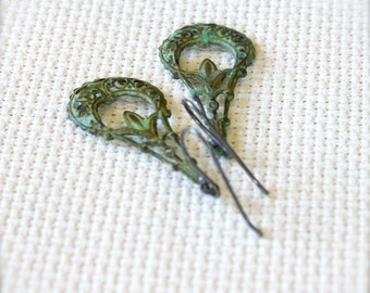 Oxidized Sterling Silver Simple Earrings with Green Verdigris Brass Filigree - Reverie // A204