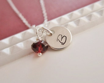 Custom necklace, personalized sterling silver initial necklace, custom letter, January birthstone necklace, garnet, monogram necklace