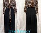 SALE WAS 65.00 Vintage 1960's Leopard Print Peignoir Set by Vanity Fair Size 8/10