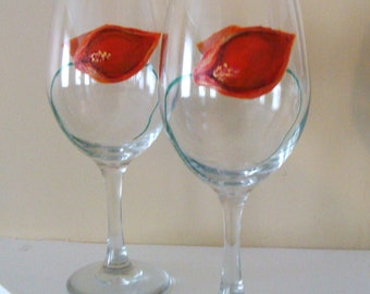 Orange Calla Lily Wine Glasses Hand Painted