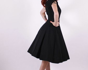 50s Dress - Black and Pink Princes Seam Cotton Cocktail Dress - Small