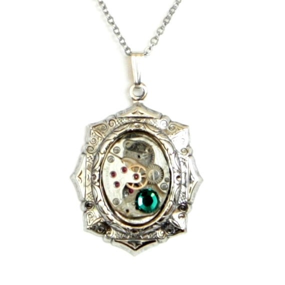 Steampunk Art Deco Lolita Antiqued Silver Necklace with Vintage Watch and Emerald Green Swarovski Crystal by Velvet Mechanism
