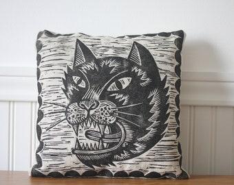 Cat Pillow, Hand Printed Scaredy Cat Novelty Pillow, Home Decor
