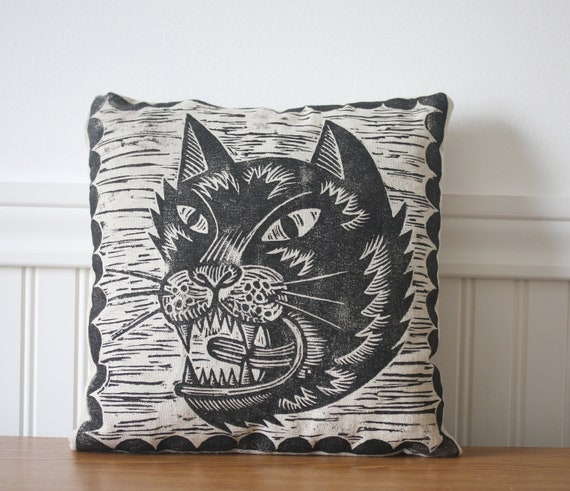 Cat Face Hand Printed Novelty Pillow