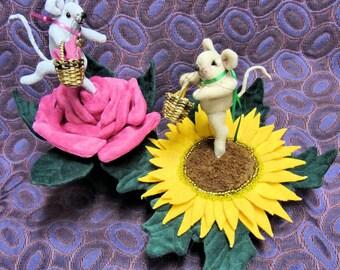 Pin Cushion, PDF Pattern, Primitive Mouse, Rose, Sunflower