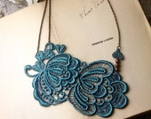 lace necklace - GENEVIEVE - deep teal - bridal necklace
