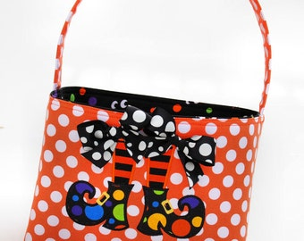Halloween Trick or Treat bag basket bucket fabric Applique witch shoes