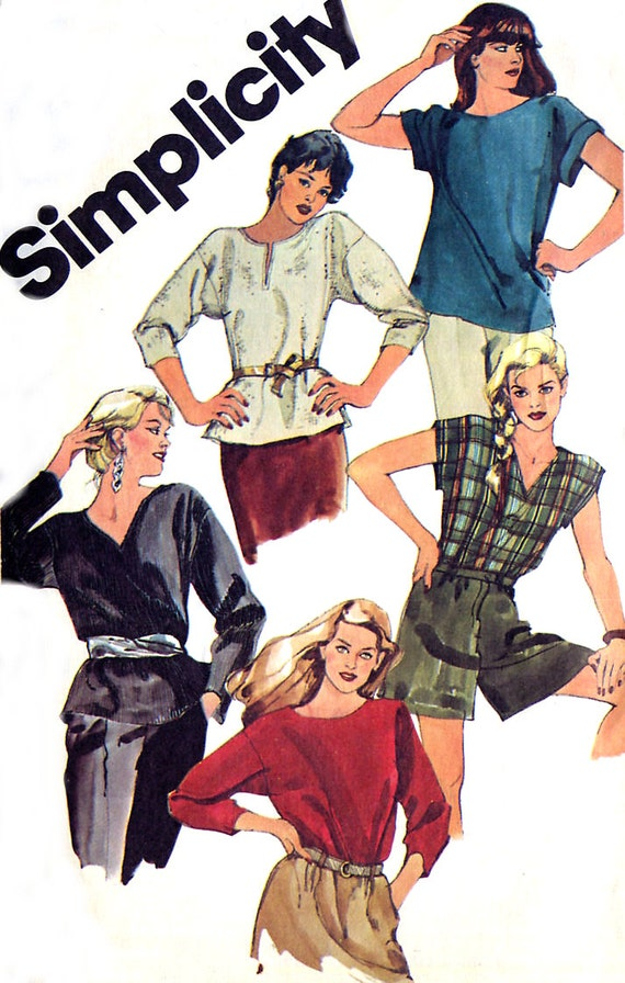 Simplicity 6373 Pullover Top - Neckline & Sleeve Options - 1980s Sewing Pattern - Bust 36-38 Uncut