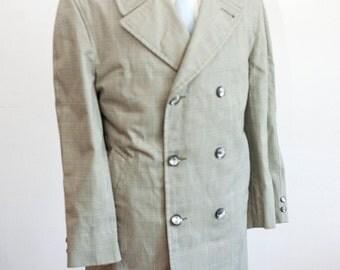 Men's Coat / Vintage Green Overcoat / Double-Breasted Glen Plaid Jacket / Size 40