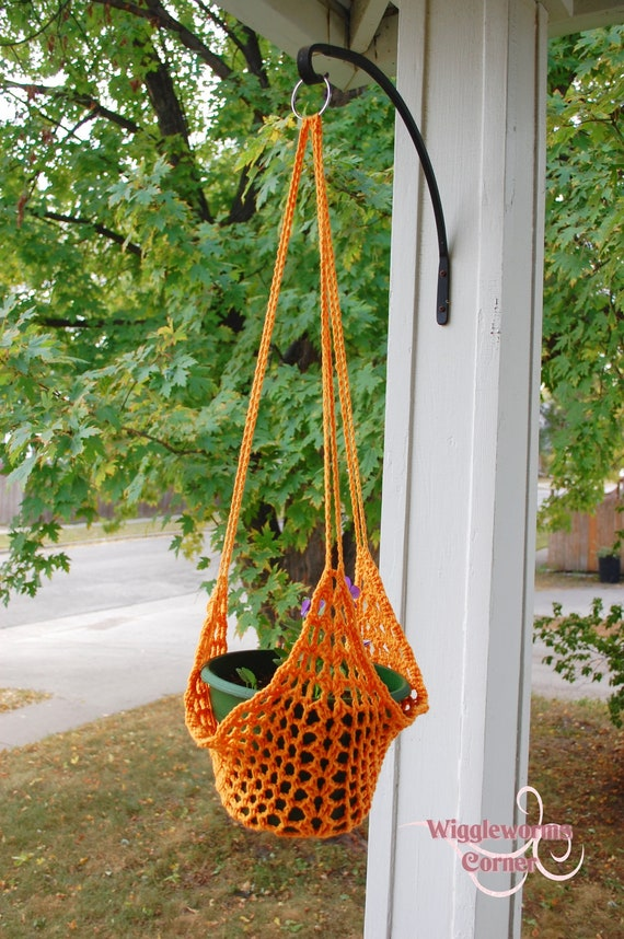 Crocheted Hanging Plant Holder Style Three By