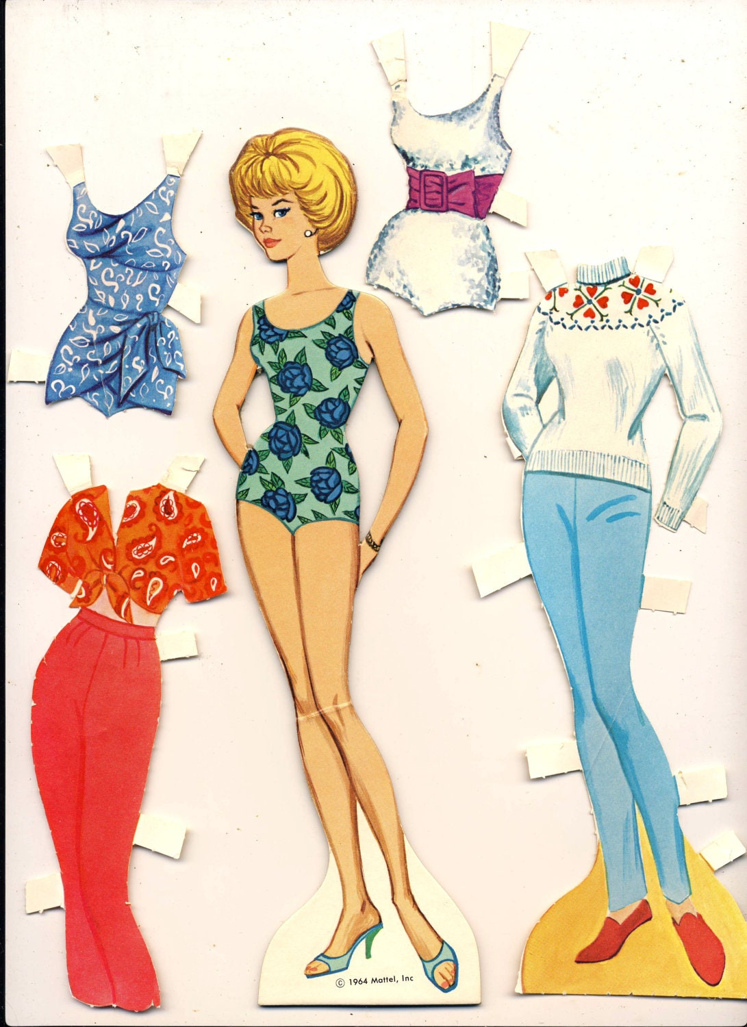 Barbie Paper Doll And Clothes Mattel Vintage 1964