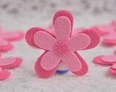 Set of 6pcs felt flower--dark carnation/baby pink (FT740)