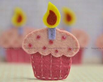 Set of 6pcs handmade felt cupcake--lipstick/pink frost (FT953)