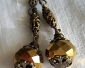 Queen - Medieval style long drop earrings in antique gold - vintage brass filigree - gold crystal, gift, autumn