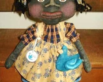 Primitive PATTERN Black Doll with Blue Bird PATTERN: Precious 14 inch Doll and Bird #170