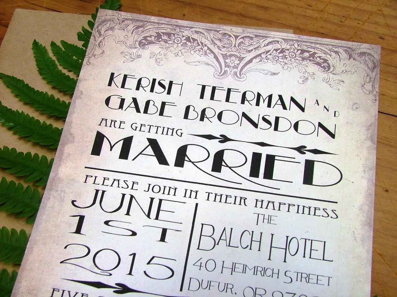 Deco Wedding Invitations: Art Deco Wedding Invitation Vintage Wedding Invitations