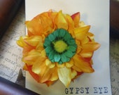 Ranessa- vibrant yellow and green perfect end of summer Handmade Accesory retro Pin Up hair flower