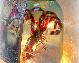 OOAK Primitive Christmas lighted blue mason jar lamp antique vintage jar Candy cane fillers night light folk art