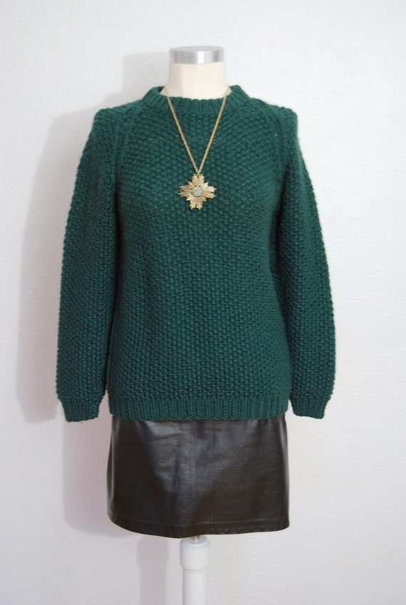 vintage 1970s / fisherman knit / sweater / over size / hunter green / M