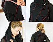 RESERVED for Kristina Tausen- Black with red Hoodie Vest, Original Style