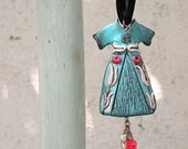 Turquoise Power Dressing Long Necklace - Ottoman Caftan Pendant with Black Velvet Cording - Ottoman Tulips